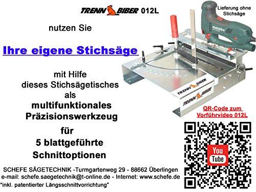 Stichsägetisch Trenn-Biber 012L+ Bosch Metabo Festool u. 3 lange Holz T-Schaft Stichsägeblätter für Stichsägen als Laminat Schneider, Sägestation - 2