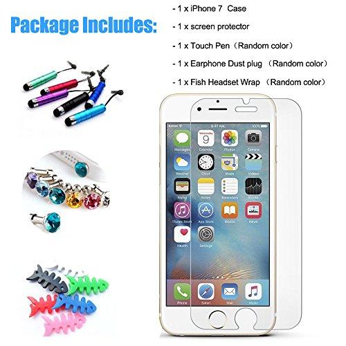 Hcheg Case Cover 3D en silicone pour Apple iPhone 7 Cat Design noir Case Cover + 1X Protecteur d'écran cat-black
