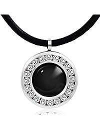 Cristal hardart de círculo redondo 12 constelación Colorful Piedra Colgante Collar De Piel Auténtica ...