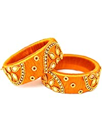 Floret Jewellery Golden Silk Thread Bangle Set/Kada With Heavy Work For Women & Girls (Mehandi/Haldi/Bride/Wedding)