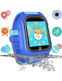 Niños Impermeable Smartwatch con rastreador de GPS - Niño niña IP67 Impermeable Mirar Telefono con cámara Juegos Relojes Deportivos Regreso a la Escuela Suministros para Estudiantes (Azul)
