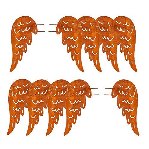 Gartenzaubereien Engelsflügel zum Basteln Edelrost 5 Paar 10 Stück