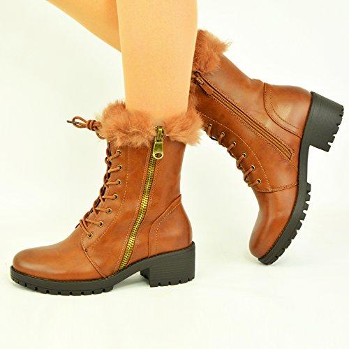 Cucu Fashion ,  Damen Biker Boots Camel