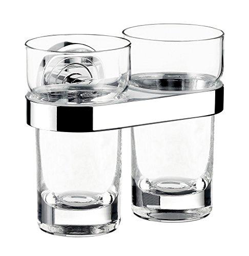 Emco Doppel-Glashalter Polo Kristallglas, 1 Stück, chrom/klar, 072500100 (Doppel-polo)