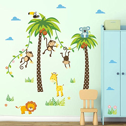 facai wandtattoo dschungel wald affen lwe giraffe eule auf bunten baum wandsticker fr. Black Bedroom Furniture Sets. Home Design Ideas