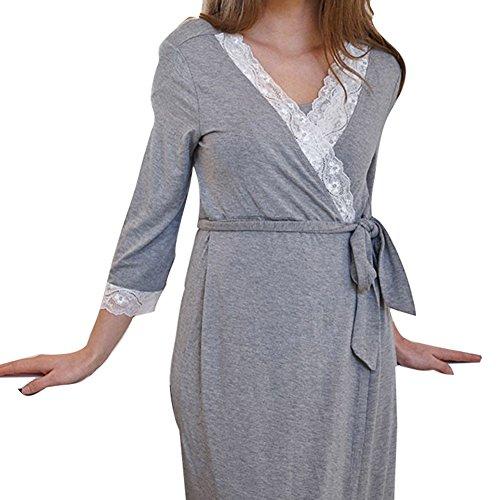 Juleya Frauen Umstandskleid Still-Nachthemd für stillen Nachthemd Shirt Dunkel Grau 2 XL