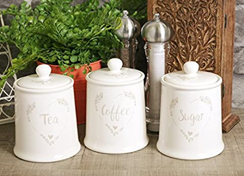 Set of 3 Food For Thought White Shabby Chic Heart Tea Coffee Sugar Ceramic Storage Jars