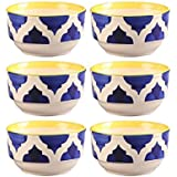 OJOS(™) Blue Handcrafted Ceramic Bowls Set Of 6, Microwave Safe Glazed Stoneware Crockery - Tableware/Dinnerware & Serving Pieces/Bowls