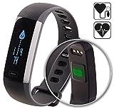 Newgen Medicals Health Tracker Blutdruck: Fitness-Armband, Blutdruck- & Herzfrequenz-Anzeige, Bluetooth, IP67 (Fitness Armband Blutdruck Messen)