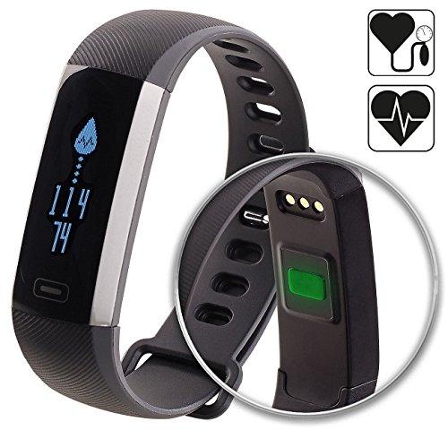 Newgen Medicals Fitnessarmband Blutdruck: Fitness-Armband, Blutdruck- & Herzfrequenz-Anzeige, Bluetooth, IP67 (Fitness Armband Blutdruck Messen)