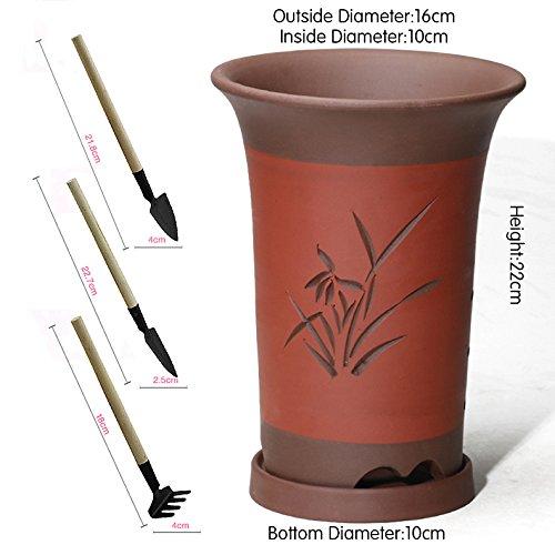 Nclon Argile pourpre Pot de fleur, Pot de fleur Pour Les orchidées Plante verte Charnu Avec Plateau Avec Jardinage Outils Trois pièces-A les petites