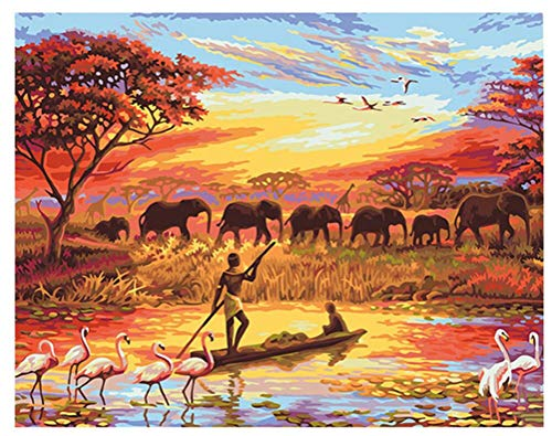 Pescador y elefantes paisajes pintura Digital DIY por números Moderno arte de...