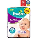 Pampers Actif Couches D'Ajustement Taille 4 + Pack Mensuel - 140 Couches -