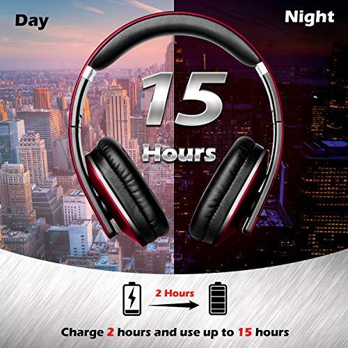 August EP650 Bluetooth v4.2 NFC Kopfhörer mit aptX Low Latency – Kabellose Over-Ear Headphones mit individuellem Sound (Rot) - 4