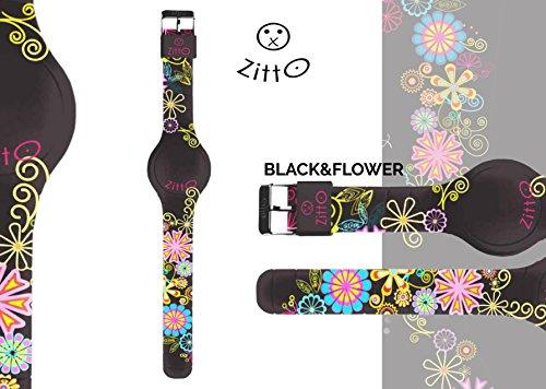 Orologio ZITTO piccolo a led con cinturino in silicone Limited Edition BLACK&FLOWER P
