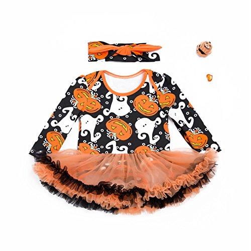 Zantec Mädchen Baby Spielanzug Säugling kriechende verbundene Kleidung offene Gabelung Overall niedliche Halloween Baby Prinzessin Garn Rock Overalls Kostüm mit Bowknot - Halloween-make-up-mädchen Teufel
