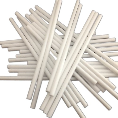 "100 150mm (6"") White Plastic Lollipop Sticks - Packed by the CandyRushTM Charity - Hollow stick for Crafts Cake Pops Lollipops"