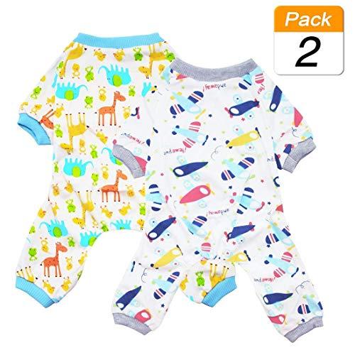 Scheppend Hund Kleidung Hund Schlafanzug Puppy Dog Pyjamas Cozy Jumpsuits Weich Haustier Schlafanzug Kleidung für Kleine Hunde und Katzen 2er Pack (Jumpsuits Für Hunde)