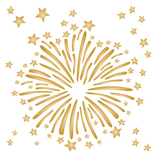 Fuegos artificiales plantilla reutilizable plantillas para pintar-Mejor calidad álbumes de recortes arte de la pared decoración ideas-Uso en paredes, suelos, tela, vidrio, Madera, carteles, y mucho más...
