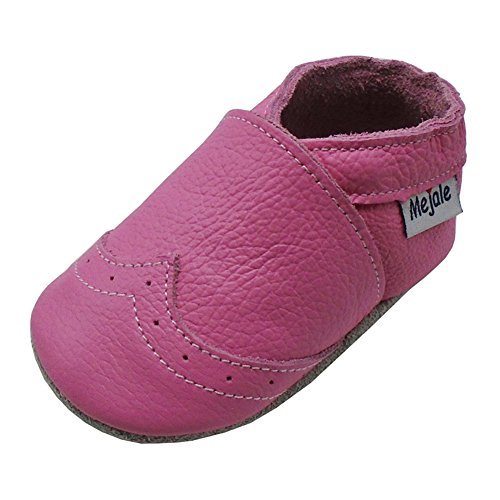 Mejale Weiche Sohle Leder Babyschuhe Lauflernschuhe Krabbelschuhe Kleinkind Kinderschuhe Hausschuhe(Rosa,18-24 Monate)