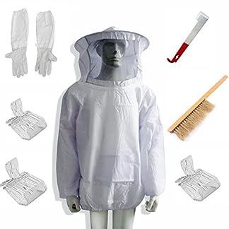 LamYHeng New Beekeeping Bee Keeping Suit Jacket&Gloves& Bee Hive Brush & J Hook Hive Tool Set &Queen Bee Catcher 18