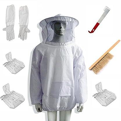 LamYHeng New Beekeeping Bee Keeping Suit Jacket&Gloves& Bee Hive Brush & J Hook Hive Tool Set &Queen Bee Catcher 1