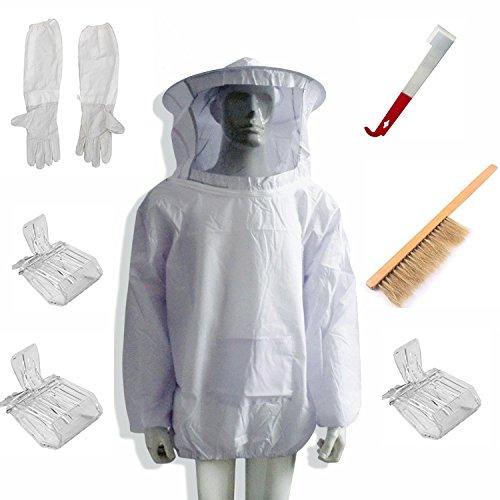 New Bienenzucht Bee Keeping Anzug Jacket & Handschuhe & Bee Hive Pinsel & J Haken Hive Werkzeug Set & Queen Bee Catcher