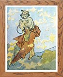 L Lumartos Vintage-Poster, Alphonse Mucha, Holz, A4