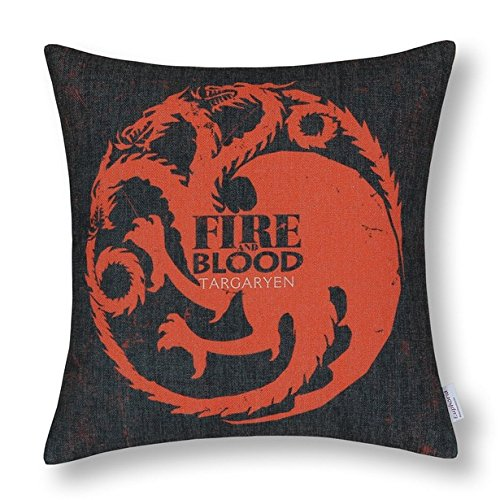 nostalgiaz Baumwolle Leinen dekorativer Überwurf-Kissenbezug (A Game of Thrones Häuser badages House Targaryen)-18x 18