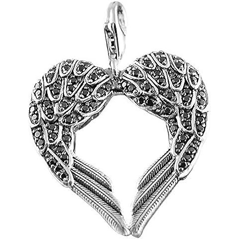Thomas Sabo Muelle Corazón/alas Corazón Colgante Plata Con Circonita Negra Grande