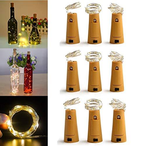 Weinflaschen Lichter, [9 Pack] 2 Meter 20 LEDs String Flaschenlichter mit Korken, Led Fairy Light für Weinflasche Glas Dekor für Geburtstagsfeier Hochzeit Tisch Schlafzimmer Dekor - Akzent-dekor-tisch-lampe