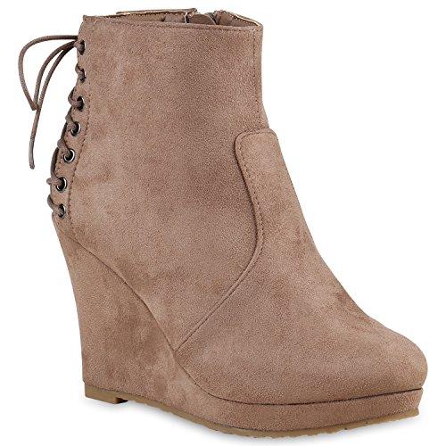 Damen Stiefeletten Zipper Plateau Boots Chelsea Boots Keilabsatz Wedges Keilstiefeletten Schuhe 123173 Khaki Schleife 38 Flandell