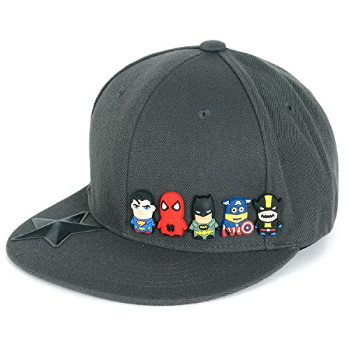 ililily Cute Superheroes Rubber Charms New Era Style Snapback Hat Baseball Cap (ballcap-1413-2) (Hat America Captain)