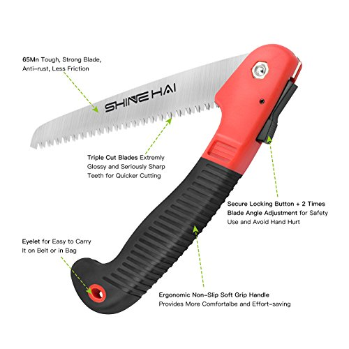 SHINE HAI Premium Folding Pruning Saw, Folding Hand Saw with Comfort Soft Grip, Triple Cut Sharp Blades, Sturdy but Lightweight, Best Tool for Garden, Camping, Tree Trimming, Hunting, Survival Gear