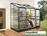Gartenwelt Riegelsberger Anlehngewächshaus Ida - Ausführung: 7800 HKP 6 mm dunkelgrün, Fläche: ca. 7,8 m², mit 2 Dachfenster, Sockelmaß: 1,90 x 3,79 m