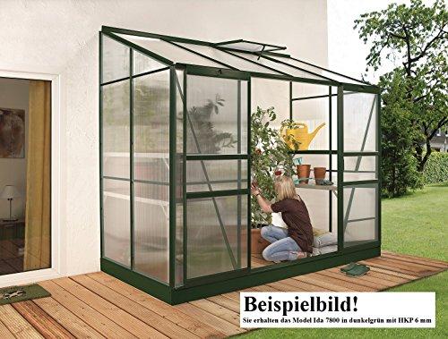 Gartenwelt Riegelsberger Anlehngewächshaus Ida – Ausführung: 7800 HKP 6 mm dunkelgrün, Fläche: ca. 7,8 m², mit 2 Dachfenster, Sockelmaß: 1,90 x 3,79 m