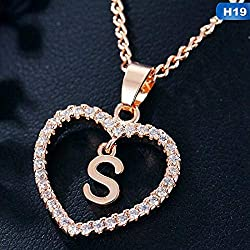 Maverick Gorgeous Alphabet 'S' in Diamond Heart Pendant & Chain Double Locket Initial Letter Inside Heart; Necklace Gift for Girls Women On Birthday Anniversary Valentine Occasions (Gold)