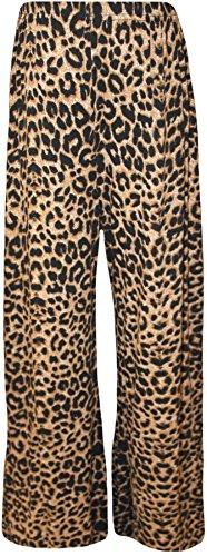 WearAll - Übergröße Damen Blumen Druck Weite Bein Palazzo Hosen - 11 Mustern - Größen 44-54 Braun Leopard