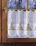 Bestickte Scheibengardine WEIHNACHTSBAUM Höhe: 42 cm Plauener Spitze, Weihnachtsgardine, Weihnachtsdeko