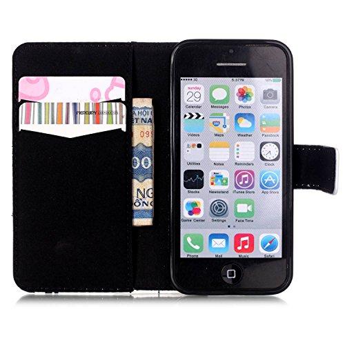 Voguecase® Per Apple iphone 5C,(sette fiori colorati) Elegante borsa in pelle Custodia Case Cover Protezione chiusura ventosa Con Stilo Penna Lovers
