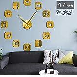 Txyang Logiciel De Communication Sans Cadre Signe 3D Diy Horloge Murale Autocollante Calme Balayage Moderne De Mode Maison Décoration Horloge Montre 47Cm...