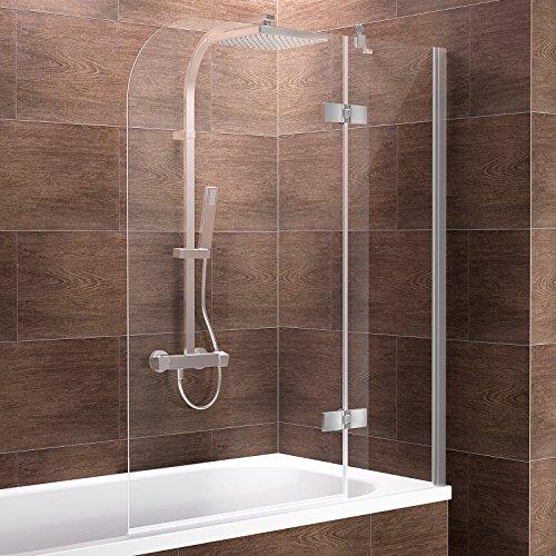 faltbare duschwand fuer badewanne Schulte Duschwand Pendolo, Anschlag rechts, 120x140 cm, 2-teilig mit Festelement, Sicherheitsglas klar 6 mm, Profilfarbe chrom-optik, Duschabtrennung für Badewanne