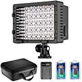 Neewer Kit d'Illuminazione Pannello Luce LED Dimmerabile 216 LED per Fotocamera Videocamera, con 2pz Batteria a Litio Sostitutiva NP-F550 2600mAh, Caricabatterie a USB & Borsa di Trasporto, per Registrazioni Video di Youtube & in Studio Fotografico