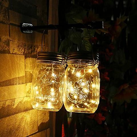 Bocal solaire de lumières, Lot de 4couvercles de bocaux Mason Insert avec 10LED Guirlande lumineuse pour Noël Mariage Fête de vacances, Blanc chaud Décor de jardin solaire Lumière de