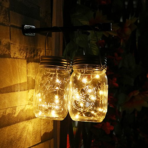 Unbekannt Topfashion+ Battery Powered Operated Led String Starry Light Copper Wire Decorative Centerpiece Lights 60 Leds Warm White Firefly Mason Jars Lighting 6m 20ft set of 2