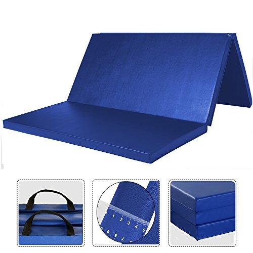 *WolfWise 120 x 180 cm Weichbodenmatte, Klappbare Fitnessmatte Gymnastikmatte Turnmatten, Rutschfeste Sportmatte Spielmatte für Kinder/ Erwachsenen, Blau, Groß*