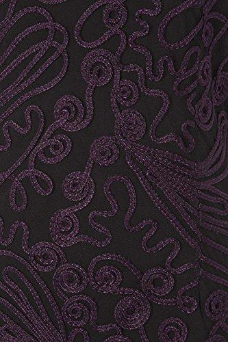 Roman Originals - Robe Femme Broderie Sans Manches - Violet Violet