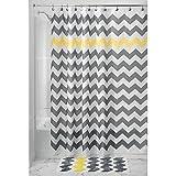 mDesign Duschvorhang Anti-Schimmel - Dusch- & Badewannenvorhang mit Zickzack-Muster - Duschvorhang wasserabweisend - 12 verstärkten Löchern für einfache Aufhängung - grau/gelb