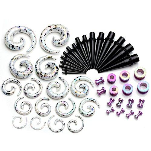 piercingj-24-paires-kits-acrylique-boucle-clou-doreille-tunnel-conique-plug-ecarteur-expandeur-helix