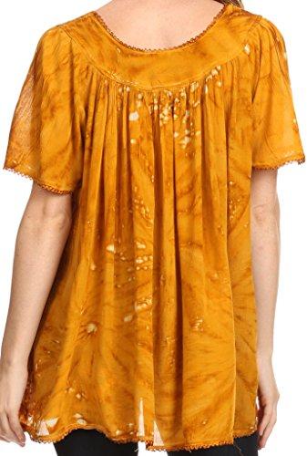 Sakkas Laylah lange, breite kurze Hülsen-Stickerei-Spitze Paillette Bluse Shirt Tunika-Ober Senf